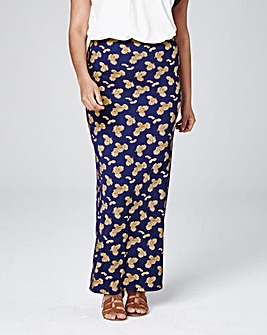 Printed Back Split Jersey Maxi Skirt