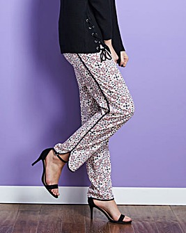 Printed Curved Hem Tipped Trouser Reg