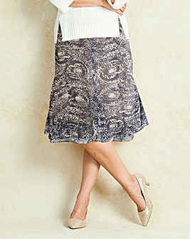 Double Hem Printed Skirt
