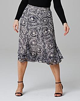 Double Hem Printed Skirt