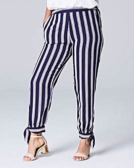 Stripe Tie Hem Cropped Trouser