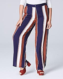 Stripe Curved Split Hem Trouser Long