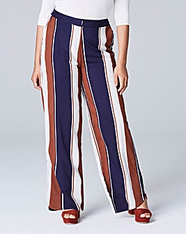Stripe Curved Split Hem Trouser Long