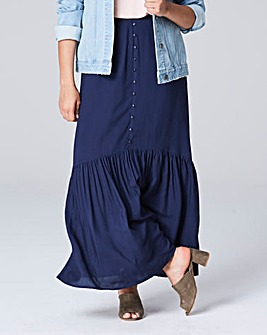 Button Front Gathered Maxi Skirt