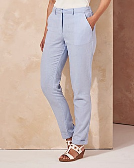 Linen Mix Tapered Leg Trousers Short