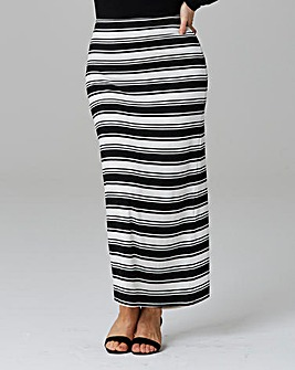 Stripe Tube Jersey Maxi Skirt