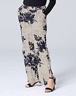 Floral Print Curve Split Hem Trouser Reg