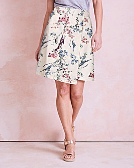 Floral Print Linen Mix Asymmetric Skirt