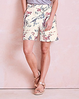 Triple Stitch Printed Linen Mix Shorts