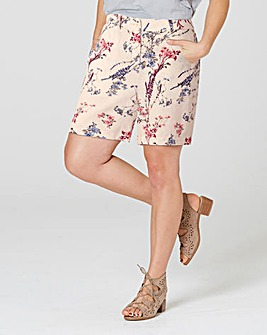 Triple Stitch Printed Linen Mix Shorts
