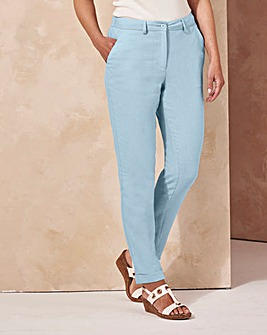 Linen Mix Tapered Leg Trousers Reg