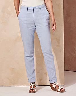 Linen Mix Tapered Leg Trousers Reg