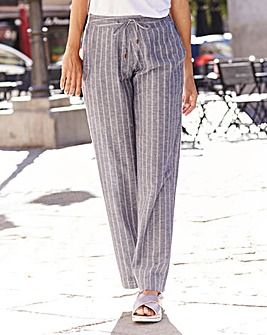 Stripe Linen Mix Wide Trouser Long
