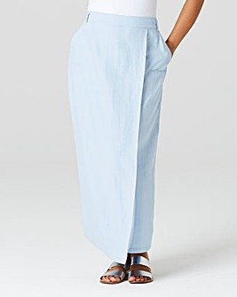 Linen Mix Wrap Maxi Skirt