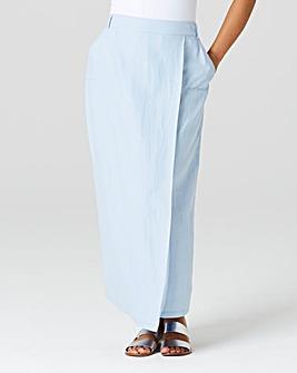 Linen Mix Wrap Maxi Skirt