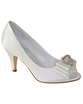 Perfect Peep Toe Bow/Diamante Trim Court