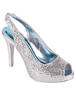 Perfect Silver Glitter Peep Sling Back