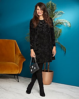 Black Embossed Velour Swing Dress