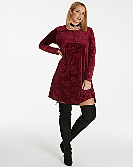 Berry Embossed Velour Swing Dress