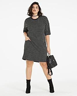 Check Pocket Tunic Dress
