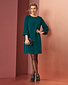 Teal Bell Sleeve Shift Dress