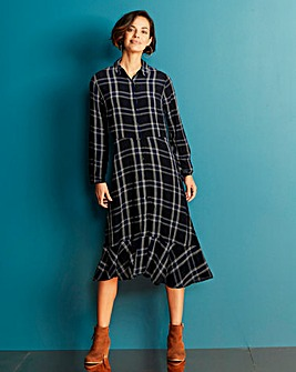 Black Check Midi Shirt Dress