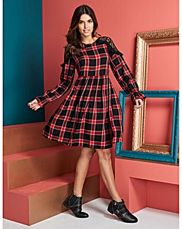Berry Check Smock Dress