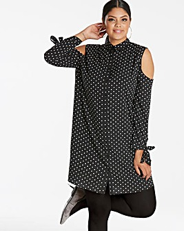 Black Spot Tie Detail Shirt Dress