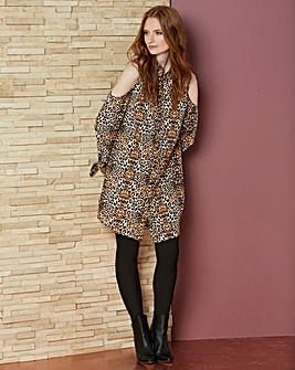 Animal Print Tie Sleeve Shirt Dress