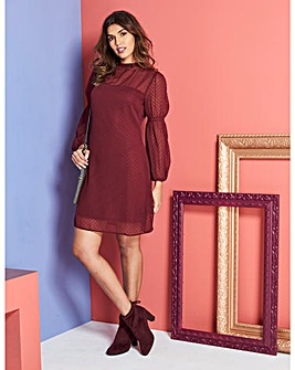 Claret Swiss Dot Swing Dress