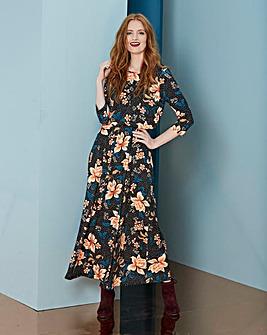 Black Print Jersey Maxi Dress