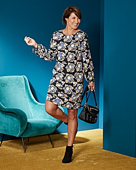 Black Print Tie Sleeve Tunic Dress