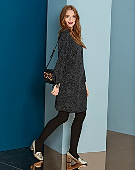 Spot Print Tie Sleeve Tunic Dress