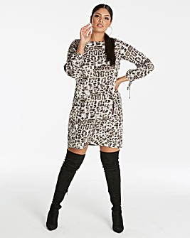 Grey Animal Tie Sleeve Tunic Dress