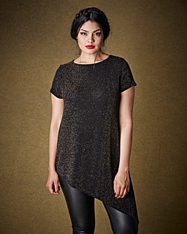 Simply Be Asymmetric Metallic T-shirt
