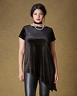 Simply Be Asymmetric Velour T-shirt