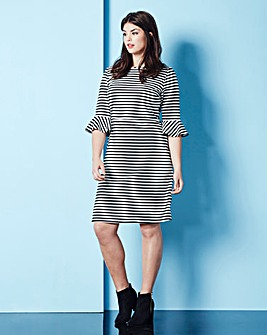 Simply Be Stripe Bell Sleeve Dress