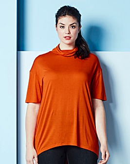 Simply Be High Neck Dip Jersey Top