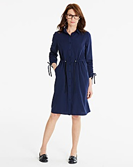 Drawcord Midi Shift Dress