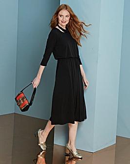 Black Plain Jersey Midi Dress