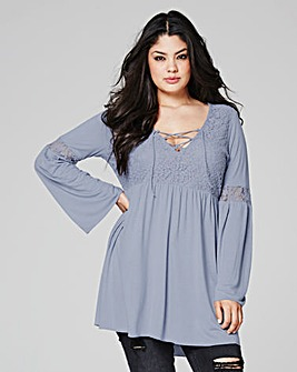 Grey Lace up Plunge Top