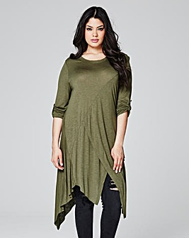 Khaki Asymmetric Turn Back Cuff Top