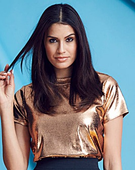 Gold Metallic Boxy Top