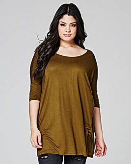 Khaki Boxy Oversized Top