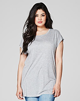 Grey Marl Viscose Boyfriend T-shirt
