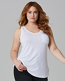White Pocket V Neck Jersey Vest