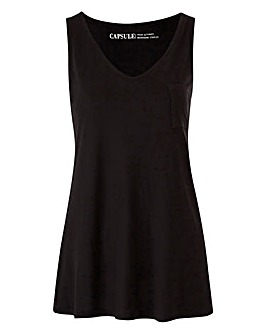 Black Pocket V-neck Jersey Vest
