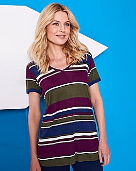 Multi Stripe V-neck Viscose T-shirt