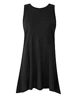 Black Sleeveless Split Back Top