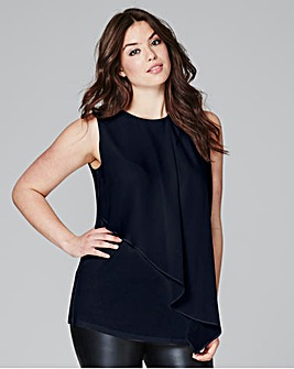 Navy Woven Front Frill Top